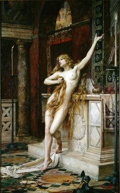 Hypatia (1885) by Charles William Mitchell, believed to be a depiction of a scene in Charles Kingsley's 1853 novel Hypatia[95][96]