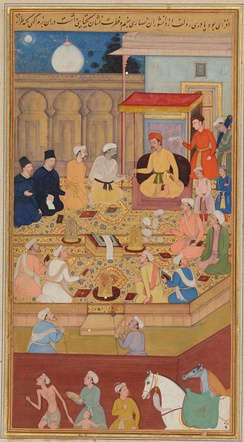 Portuguese (top left) at the Royal Court of emperor Akbar.