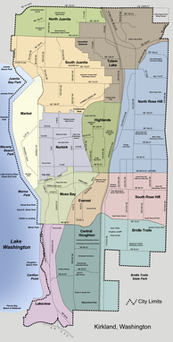 Map of Kirkland in 2006, prior to annexations