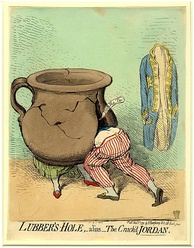 Cartoon by James Gillray of William and Mrs. Jordan: A large, cracked chamber-pot represents Mrs. Jordan, and the Duke has thrust himself into a fissure in the 'Jordan'.