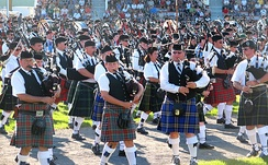 Massed pipebands at the Glengarry Highland Games, Ontario, Canada