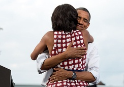 Barack Obama embraces the First Lady after she had introduced him at a 2012 election campaign event in Davenport, Iowa. The campaign tweeted a similar photograph from the campaign photographer on election night and many people thought it was taken on election day.