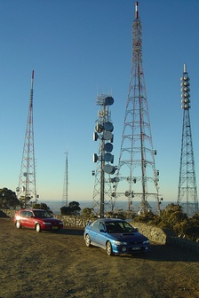 Communications towers atop Mount Canobolas