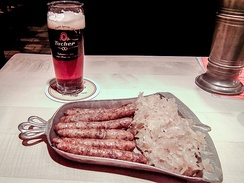 Cooked Nuremberger pork sausages, sauerkraut and beer in Germany