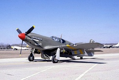 "A-36A ""Margie H"" at the National Museum of the United States Air Force, in the scheme of the A-36A flown by Captain Lawrence Dye of the 16th Fighter-Bomber Squadron in Tunisia, Sicily and Italy.[1]"