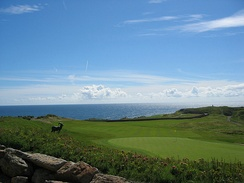 The 18th hole at the Old Head Golf Links on the Old Head of Kinsale
