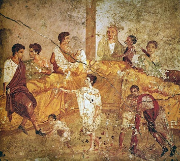 Wall painting (1st century AD) from Pompeii depicting a multigenerational banquet