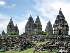 Prambanan temple compound. The towering candi prasada (temple towers)[6] are believed to represent the cosmic Mount Meru, the abode of gods.
