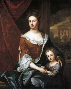 Anne with her son Prince William, Duke of Gloucester, in a painting from the school of Sir Godfrey Kneller, circa 1694