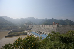 Sơn La Dam in northern Vietnam, the largest hydroelectric dam in Southeast Asia.[301]
