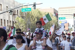 Mexican immigrants march for more rights in Northern California's largest city, San Jose (2006).