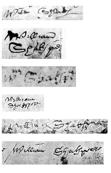 Shakespeare's six surviving signatures are all from legal documents.