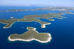 The Paklinski Islands off the coast of Croatia; the Adriatic Sea contains over 1200 islands and islets