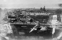 The Botanic Garden in the foreground in 1863