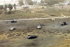 Destroyed remains of Iraqi tanks near Al Qadisiyah