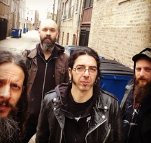 Ufomammut in May 2015. From left to right: Urlo, Poia, Vita, and sound engineer Ciccio.