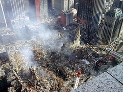 Ground Zero in New York following the attacks of 11 September 2001