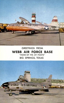Postcard from Webb showing Lockheed T-33A-1-LO, AF Ser. No. 53-5725, and North American F-86D-60-NA Sabre, AF Ser. No. 53-4062