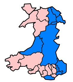 Principal areas in Wales affected in June and July 2007 floods as of 24 July (marked in blue).
