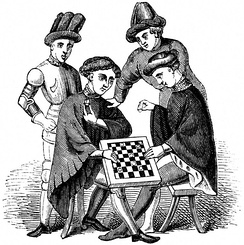 Men in medieval clothing playing draughts