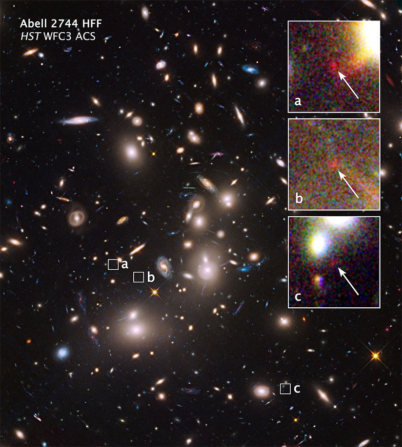 Abell 2744 galaxy cluster - extremely distant galaxies revealed by gravitational lensing (16 October 2014).[30][31]