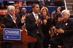Larson with President Obama, Caroline Kennedy, and Senator Ted Kennedy on February 4, 2008