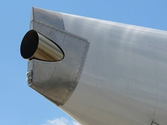 The APU exhaust at the tail end of an Airbus A380