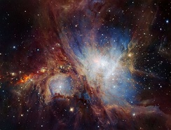 Infrared view of the Orion Nebula taken by ESO's HAWK-I, a cryogenic wide-field imager[8]