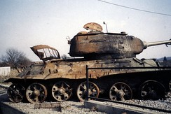 A destroyed T-34-85 tank in Karlovac, Croatian War of Independence, 1992