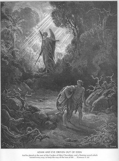 Adam and Eve being driven from Eden due to original sin, portrayed by Gustave Doré.