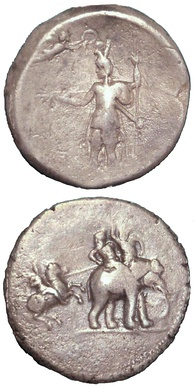 """Victory coin"" of Alexander the Great, minted in Babylon c. 322 BC, following his campaigns in Bactria and the Indus Valley. Obverse: Alexander being crowned by Nike. Reverse: Alexander attacking king Porus on his elephant. Silver. British Museum."
