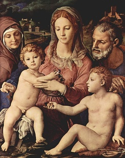 Святое семейство со святой Анной и Иоанном Крестителем. Картина Аньоло Бронзино, ок. 1530