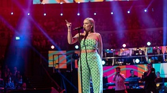 Anne-Marie performing at the Queen's 92nd birthday party in 2018