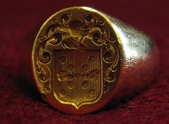 Armigerous signet ring bearing the arms of the Baronnet family; goldsmith: Jean-Pierre Gautheron, Paris