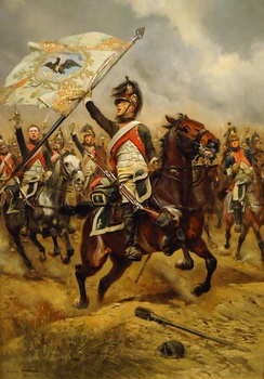 French dragoon with captured Prussian flag at the battle of Jena