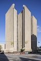 Buffalo City Court Building (built 1971–1974) by Pfohl, Roberts, and Biggie, is a classic example of Brutalism's imposing aesthetic