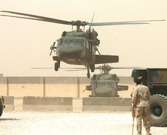 UH-60s equipped with machine guns near An Najaf, Iraq in May 2005.