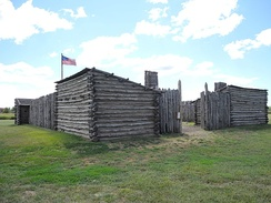 Camp Dubois (Camp Wood) reconstruction, where the Corp of Discovery mustered through the winter of 1803–1804 to await the transfer of the Louisiana Purchase to the United States