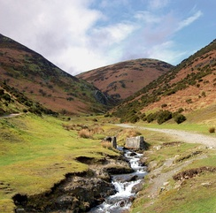 The landscape of the Long Mynd, to the west of Church Stretton.