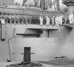 "Casemate-mounted 5""/50 caliber gun on the USS North Dakota (BB-29)"