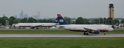 Charlotte-Douglas International Airport with Uptown Charlotte's skyline in the background