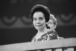 Coretta Scott King (the widow of Martin Luther King Jr.) attending the second day of the convention
