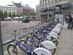 A rental bicycle station in the city center