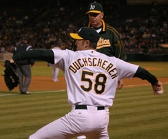 Justin Duchscherer pitched for the Oakland Athletics