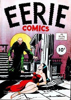 Comic book cover shows a bald, robed man moving toward a frightened woman on the floor in a strapless dress. Her hands and feet are bound. Price of the comic is listed as 10 cents.