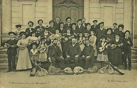"The Mandolin ""Estudiantina"" of Mayenne, France around 1900 when Mandolin orchestras were at the height of their popularity."