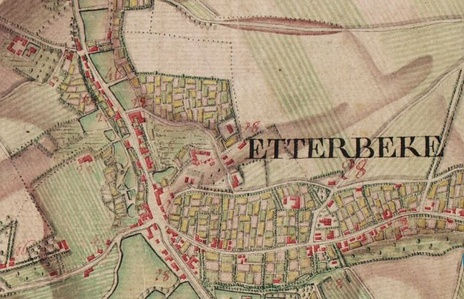 Ferraris Map of Etterbeek (Bruxelles) in 1777