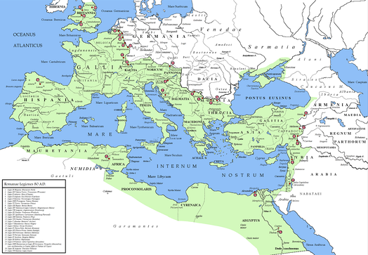 Location of legions and their Canabae in 80 AD