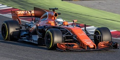 Fernando Alonso testing the MCL32 at the Circuit de Barcelona-Catalunya