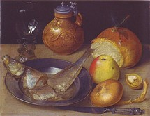 Still life with herring and stoneware jug, Georg Flegel, c. 1600